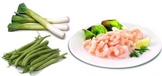 Tagliolini aux Oeufs avec Crevettes et Légumes